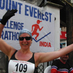 Runner at Mt. Everest Challenge Marathon finish line
