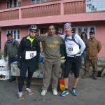 Race Director, C S Pandey with runners at check point