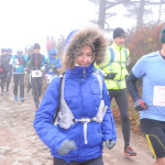 Runners at starting line on Race Day 2 in foggy morning